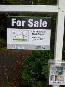 no high real estate agent commissions here (our For Sale sign shown)